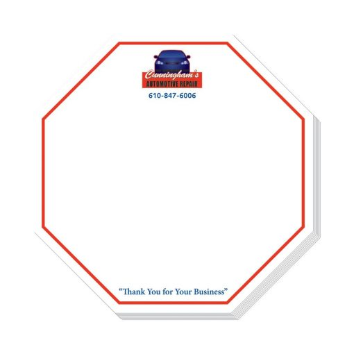 "Octagon Stock Shape 25 Sheet Adhesive Die Cut Pad (4""x4"")"