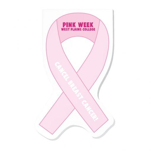 "Pink Ribbon Stock Shape Die Cut Scratch Pad (4""x7"")"